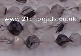 CRU511 15.5 inches 6mm faceted nuggets black rutilated quartz beads