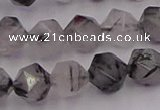 CRU513 15.5 inches 10mm faceted nuggets black rutilated quartz beads