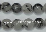 CRU56 15.5 inches 16mm round black rutilated quartz beads wholesale