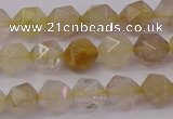 CRU621 15.5 inches 6mm faceted nuggets golden rutilated quartz beads