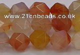 CRU768 15.5 inches 10mm faceted nuggets mixed rutilated quartz beads