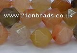 CRU769 15.5 inches 12mm faceted nuggets mixed rutilated quartz beads