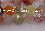 CRU777 15.5 inches 8mm faceted nuggets mixed rutilated quartz beads