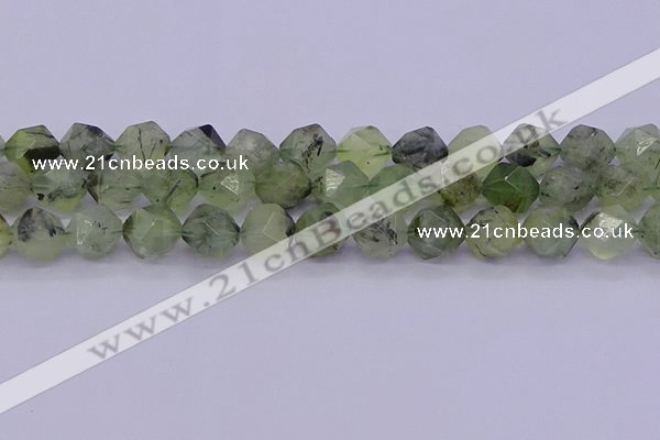 CRU794 15.5 inches 12mm faceted nuggets green rutilated quartz beads