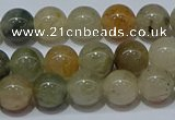CRU902 15.5 inches 8mm round green rutilated quartz beads wholesale