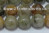 CRU904 15.5 inches 12mm round green rutilated quartz beads wholesale