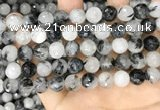 CRU959 15.5 inches 10mm faceted round black rutilated quartz beads