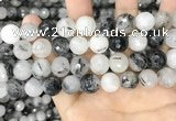 CRU969 15.5 inches 12mm faceted round black rutilated quartz beads