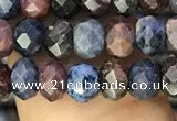 CRZ1136 15.5 inches 4*5mm faceted rondelle ruby & sapphire beads