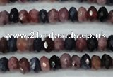 CRZ521 15.5 inches 3*4mm faceted rondelle natural ruby sapphire beads