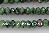CRZ702 15 inches 5*8mm faceted rondelle ruby zoisite gemstone beads