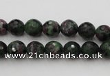 CRZ740 15.5 inches 9mm faceted round ruby zoisite gemstone beads