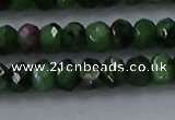 CRZ753 15.5 inches 4*6mm faceted rondelle ruby zoisite beads