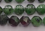 CRZ763 15.5 inches 10mm faceted nuggets ruby zoisite gemstone beads