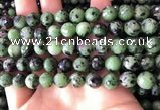 CRZ783 15.5 inches 10mm faceted round ruby zoisite beads wholesale