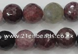 CRZ808 15.5 inches 12mm faceted round natural ruby sapphire beads