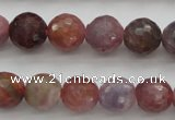 CRZ851 15.5 inches 7mm faceted round natural ruby gemstone beads
