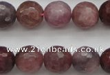 CRZ853 15.5 inches 9mm faceted round natural ruby gemstone beads
