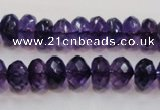 CSA22 15.5 inches 7*12mm faceted rondelle synthetic amethyst beads