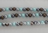 CSB1000 15.5 inches 4mm round mixed color shell pearl beads