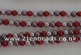 CSB1002 15.5 inches 4mm round mixed color shell pearl beads