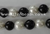 CSB1050 15.5 inches 10mm round mixed color shell pearl beads