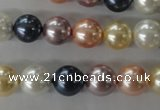 CSB1067 15.5 inches 10mm round mixed color shell pearl beads