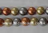 CSB1074 15.5 inches 10mm round mixed color shell pearl beads