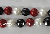 CSB1077 15.5 inches 10mm round mixed color shell pearl beads