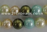 CSB1110 15.5 inches 12mm round mixed color shell pearl beads