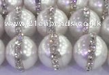 CSB1504 15.5 inches 14mm round shell pearl with rhinestone beads