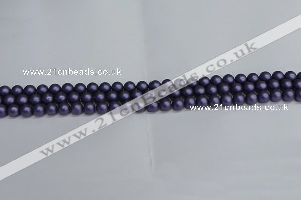 CSB1650 15.5 inches 4mm round matte shell pearl beads wholesale