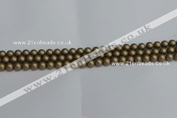 CSB1670 15.5 inches 4mm round matte shell pearl beads wholesale