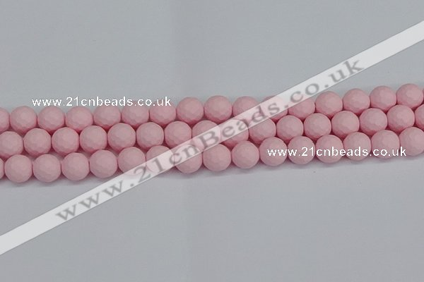 CSB1842 15.5 inches 8mm faceetd round matte shell pearl beads