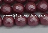 CSB1873 15.5 inches 10mm faceetd round matte shell pearl beads