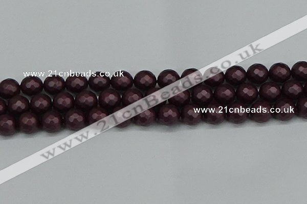 CSB1884 15.5 inches 12mm faceted round matte shell pearl beads