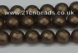 CSB1921 15.5 inches 6mm faceted round matte shell pearl beads