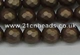 CSB1923 15.5 inches 10mm faceted round matte shell pearl beads