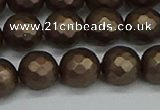 CSB1924 15.5 inches 12mm faceted round matte shell pearl beads