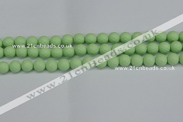 CSB1993 15.5 inches 10mm faceted round matte shell pearl beads