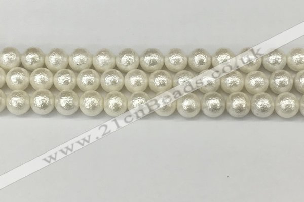 CSB2202 15.5 inches 8mm round wrinkled shell pearl beads wholesale