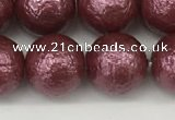 CSB2264 15.5 inches 12mm round wrinkled shell pearl beads wholesale