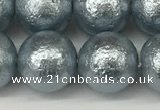 CSB2285 15.5 inches 14mm round wrinkled shell pearl beads wholesale