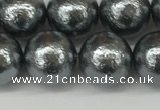 CSB2293 15.5 inches 10mm round wrinkled shell pearl beads wholesale