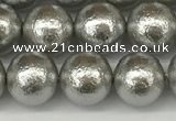 CSB2302 15.5 inches 8mm round wrinkled shell pearl beads wholesale
