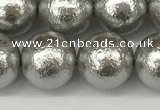 CSB2304 15.5 inches 12mm round wrinkled shell pearl beads wholesale