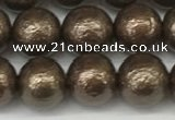 CSB2312 15.5 inches 8mm round wrinkled shell pearl beads wholesale