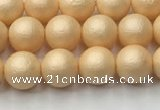 CSB2400 15.5 inches 4mm round matte wrinkled shell pearl beads