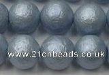CSB2473 15.5 inches 10mm round matte wrinkled shell pearl beads