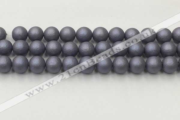 CSB2484 15.5 inches 12mm round matte wrinkled shell pearl beads